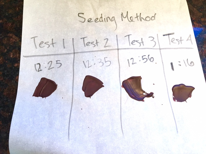 Testing the temper of dark chocolate using the seeding method