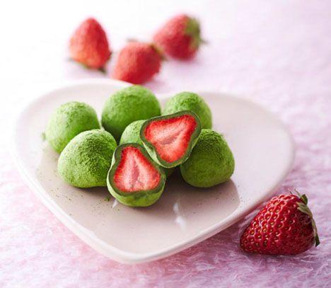Matcha white chocolate covered strawberries