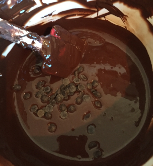 Adding seed to melted dark chocolate