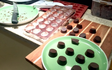 Making molded dark chocolate bonbons