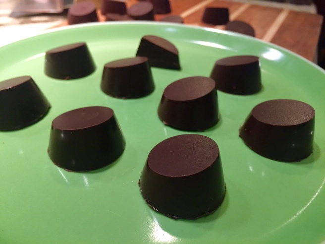 Molded dark chocolate bonbons
