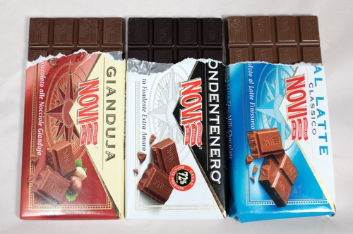 Novi Italian chocolate bars in gianduja (hazelnut), fondente (dark) and latte (milk)