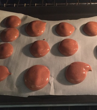 Chocolate chick pea water meringues