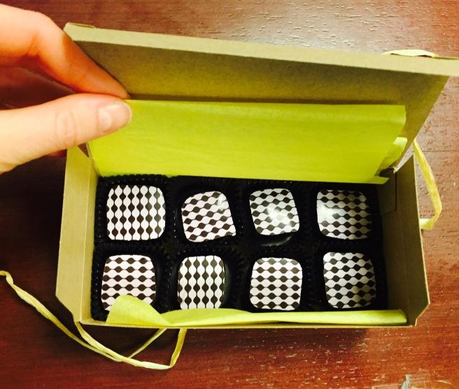 Box of homemade chocolate truffles